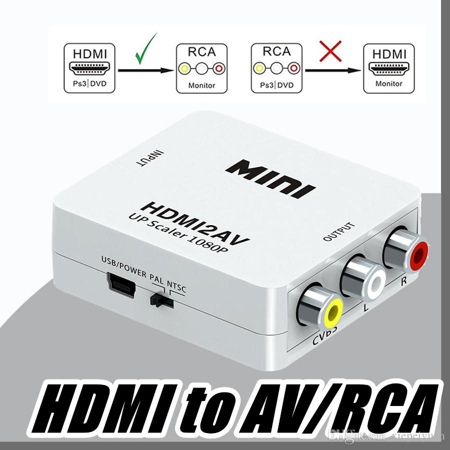 Dhl Mini Hdmi To Av Rca Converter Composite Video 2 Way Switch Box Adapter Full Hd Up Scaler 1080p Hdmi2av For Hdtv Standard Tv Vga Adapters