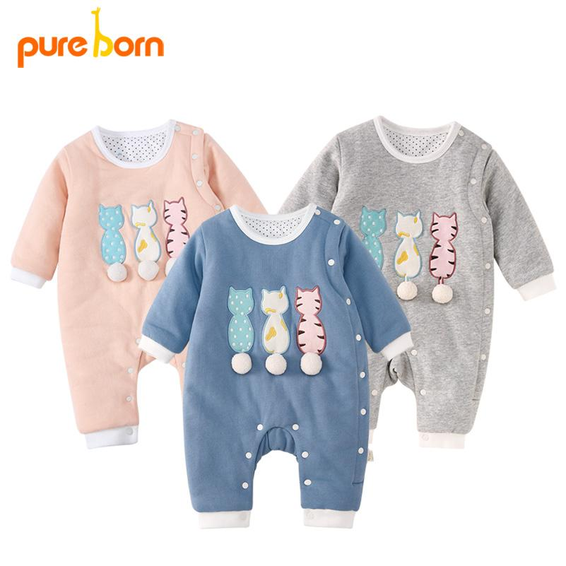 9f96cd04113 2019 Pureborn Baby Girl Romper Lovely Cartoon Cat Baby Clothes Thick Warm  Cotton Jumpsuit Newborn Overall Boys Gift Brand New From Curd