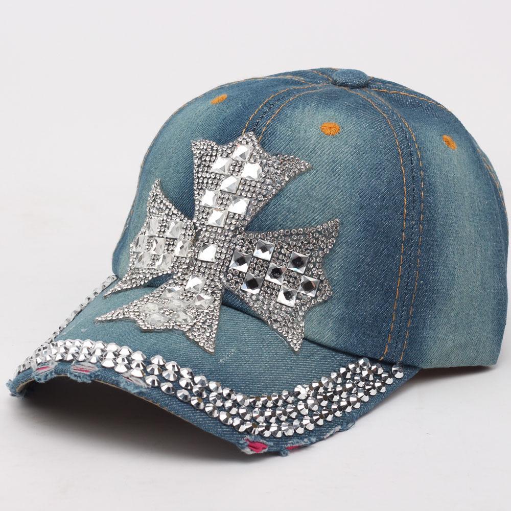 cb4f535acb3 2018 New Summer New Fashion Designer Cross Rhinestone Hats Women Denim Sun  Hats Super Quality Outdoor Sport Hat Baseball Hats Caps For Lady Flexfit Caps  Cap ...