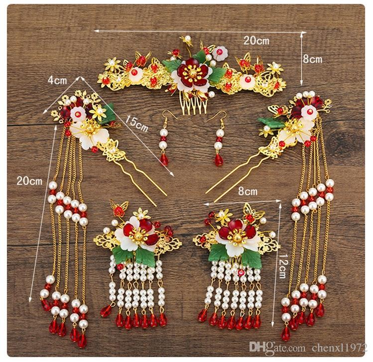 Brides, costume, headwear, Chinese comb accessories, wedding dresses and accessories. eight