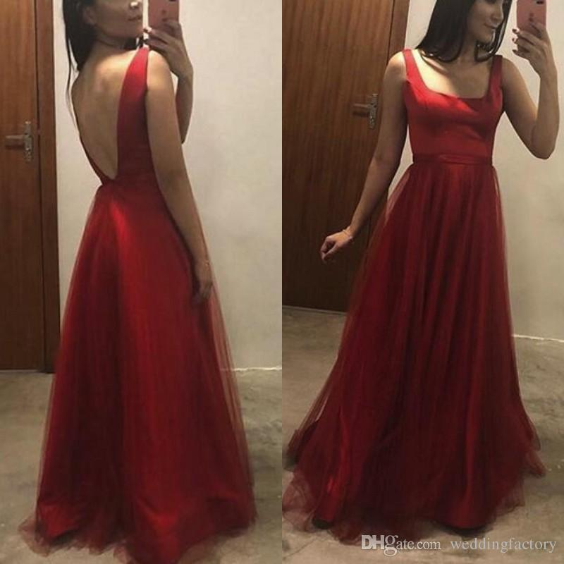 Simple Elegant Evening Gown Dark Red Burgundy Formal Dress Square Neck Sleeveless Open Back Floor Length Tulle Prom Party Gowns Cheap