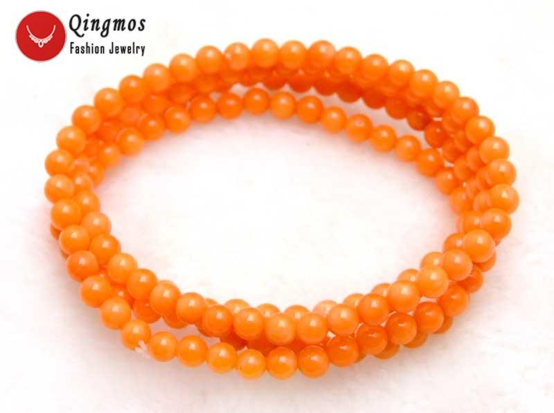 2018 qingmos round natural orange coral bracelet for women with 5