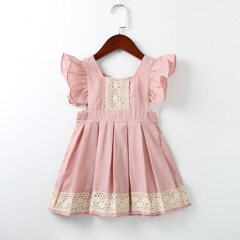 768b53369a9 Compre Vestidos Para Niñas Nueva Marca Princesa Ropa Para Niña Costura  Encaje Volar Manga Rosa Claro Vestido De Las Niñas Por 2 6 Años A  8.2 Del  ...