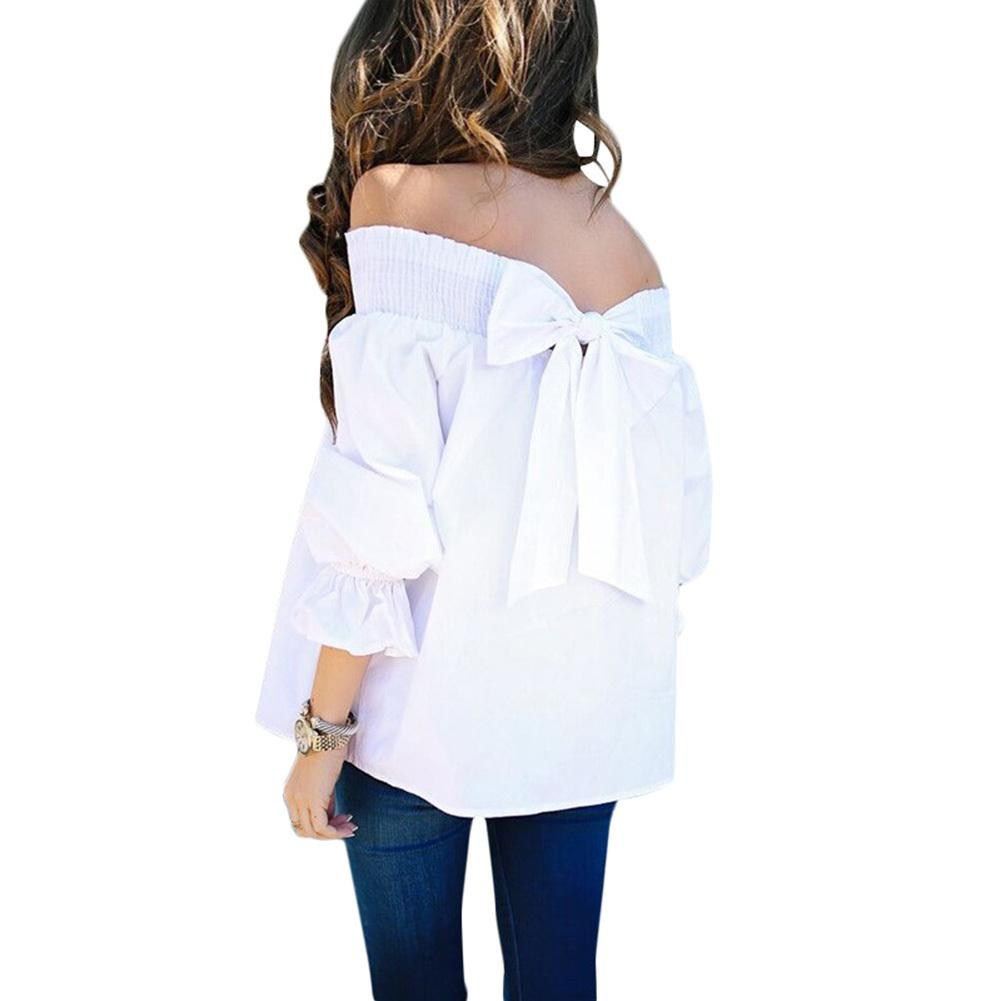 b09e8943c911d 2019 2018 New Sexy Women Off Shoulder Blouses Bow Back Flare Sleeve Slash  Neck Black Blouse Solid Casual Loose Summer Shirts Tops From Fafachai07