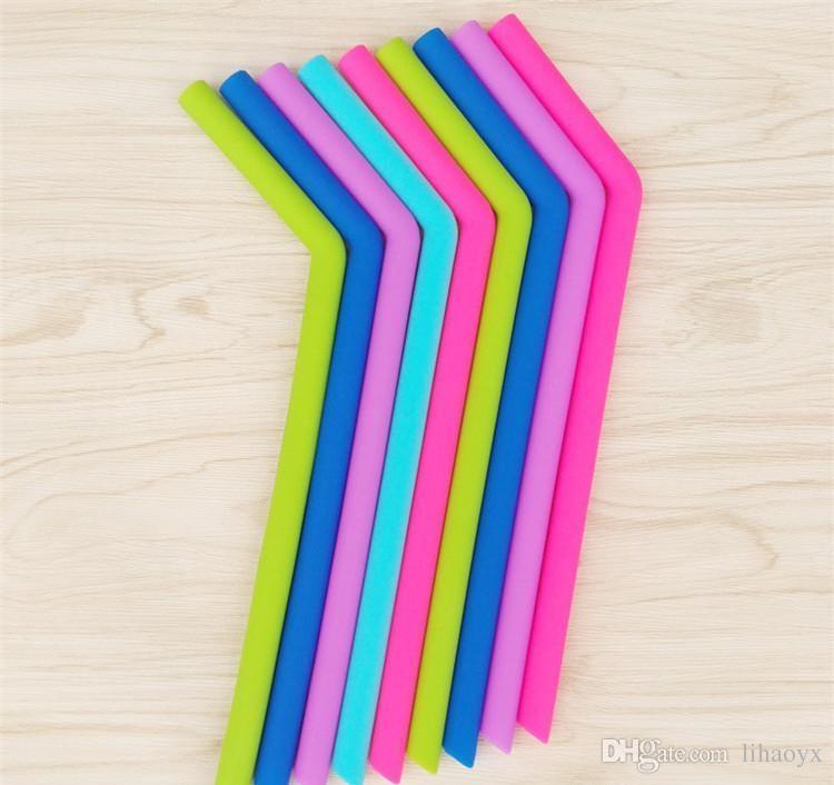 24 cm uzunluk viraj saman Gıda sınıfı silikon jel noel Milkshakes Bar Içecekler için saman İçme saman c256