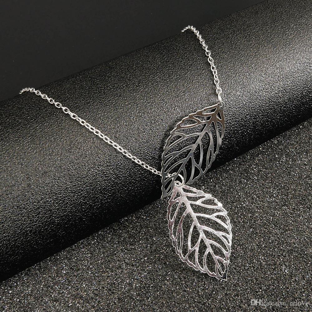 Yeni Sıcak Patlayıcı yapraklar kolye çift yapraklı klavikula zinciri Avrupa ve Amerikan takı kadın takı toptan malzemeleri