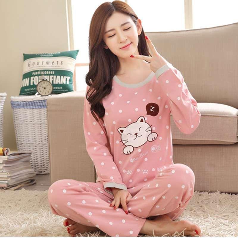 5070126888 2019 Women S Cartoon Print Long Sleeves Autumn Winter Pajama Sets Sweet  Cute Female Loose Sleepwear From Industrial