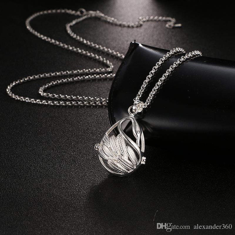Évidée Swan Aromathérapie Diffuseur Collier Huile Essentielle Diffuseur Colliers Mode Bijoux Vacances Cadeaux 5 Couleurs