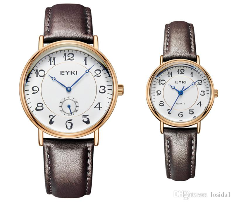 8495f3dcc179 EYKI Brand Dress Watches for Couple Lovers Genuine Leather Strap ...