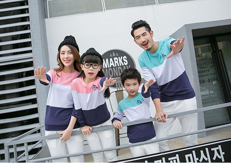 04bbbe9ed63 Family Matching Outfits Mom Dad Baby Stripe Long Sleeve Cotton T Shirts  Spring Autumn Family Clothing Sets Clothes Matching Dress Mother Daughter  ...
