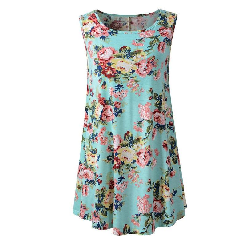 9a92f776d82 2019 Summer Women Floral Print FlareTank Tops Boho Casual Female Girl Vests Tank  Tunic Sleeveless Swing O Neck Loose Beach Clothes From Piaocloth, ...