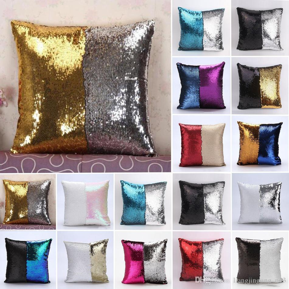 Surprising Sequin Mermaid Pillow Cushion Cover Two Tone Magical Throw Pillow Case Colorful Decorative Sofa Car Pillows Cover Diy 38 Designs Aaa61 Download Free Architecture Designs Grimeyleaguecom