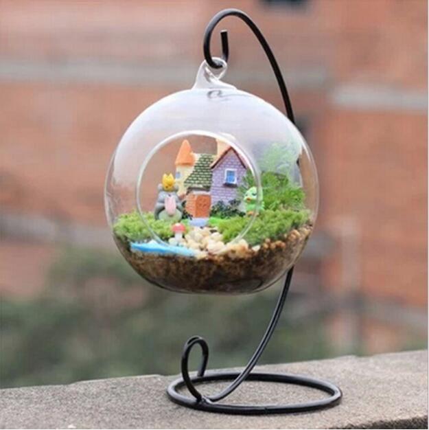 Ornamento del soporte de exhibición, hierro colgantes del estante del sostenedor del soporte para el globo de cristal colgantes planta de aire terrario, bola de la bruja, y la boda Decoración