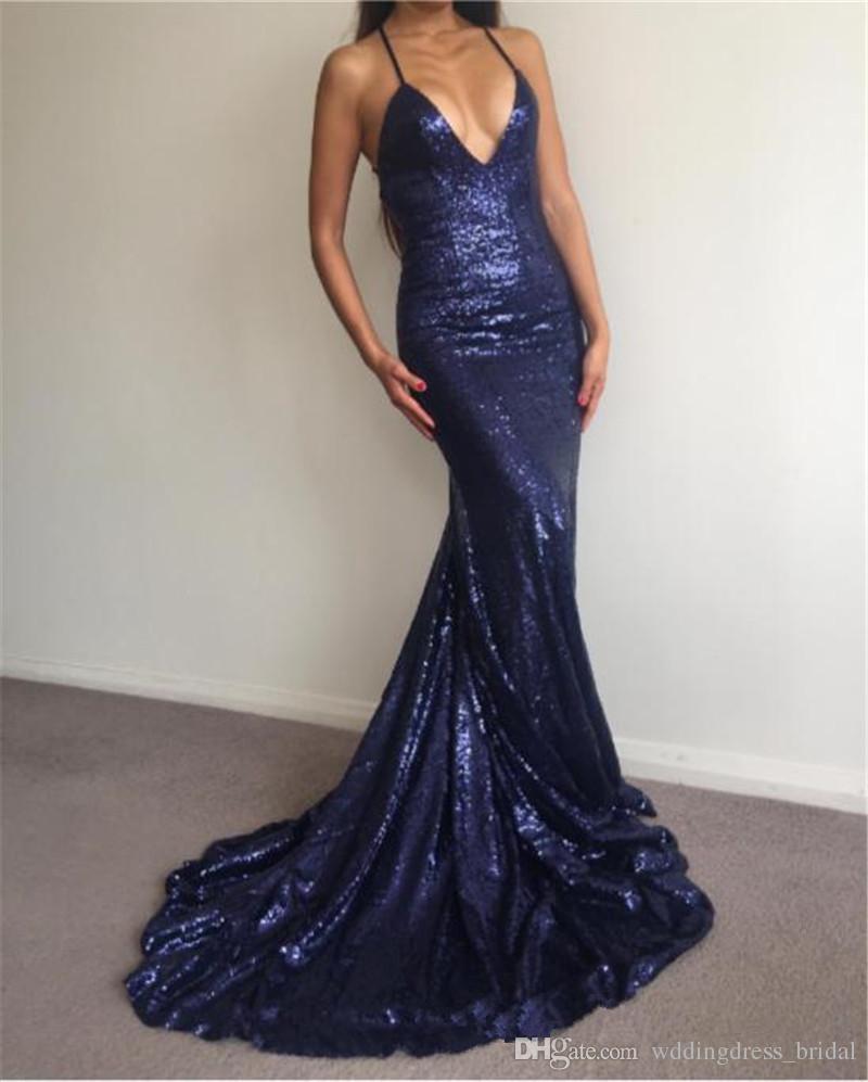 Atractivo de la sirena con lentejuelas azules marinos de los vestidos de baile Vestidos para ocasiones especiales 2019 cuello en V profundo sin respaldo elegantes vestidos de noche largo formal baratos
