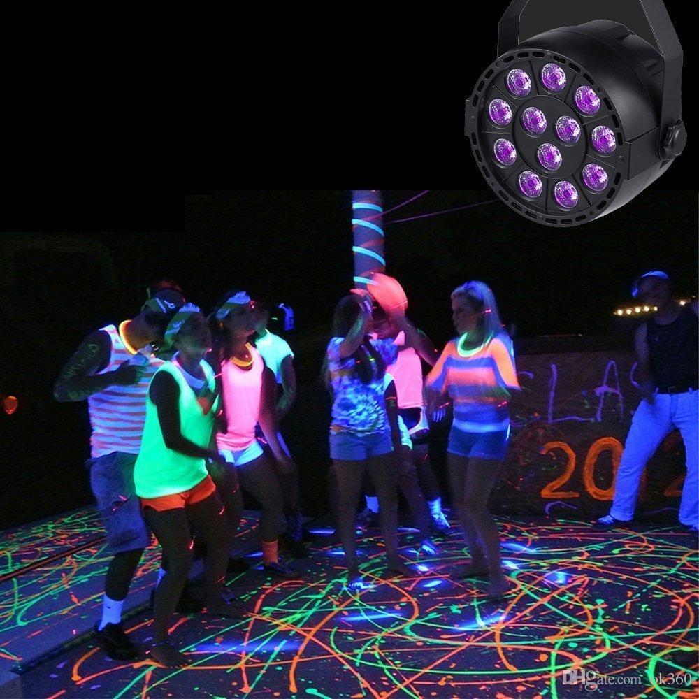 36 W UV LED Luz de Palco Som Ativo 12 LEDs Auto DMX Ultravioleta Strobe Par Luzes Pretas Para luz de discoteca DJ Projetor partido
