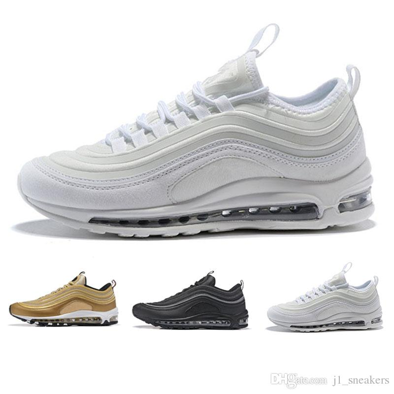 b0b8449ec46d15 Großhandel N09 4 Nike Air Max 97 Sneakers Rabatt OG Tripel Weiß Metallic  Gold Silber Kugel Herren Freizeitschuhe Trainer Beste Turnschuhe Schuhe  Männer ...