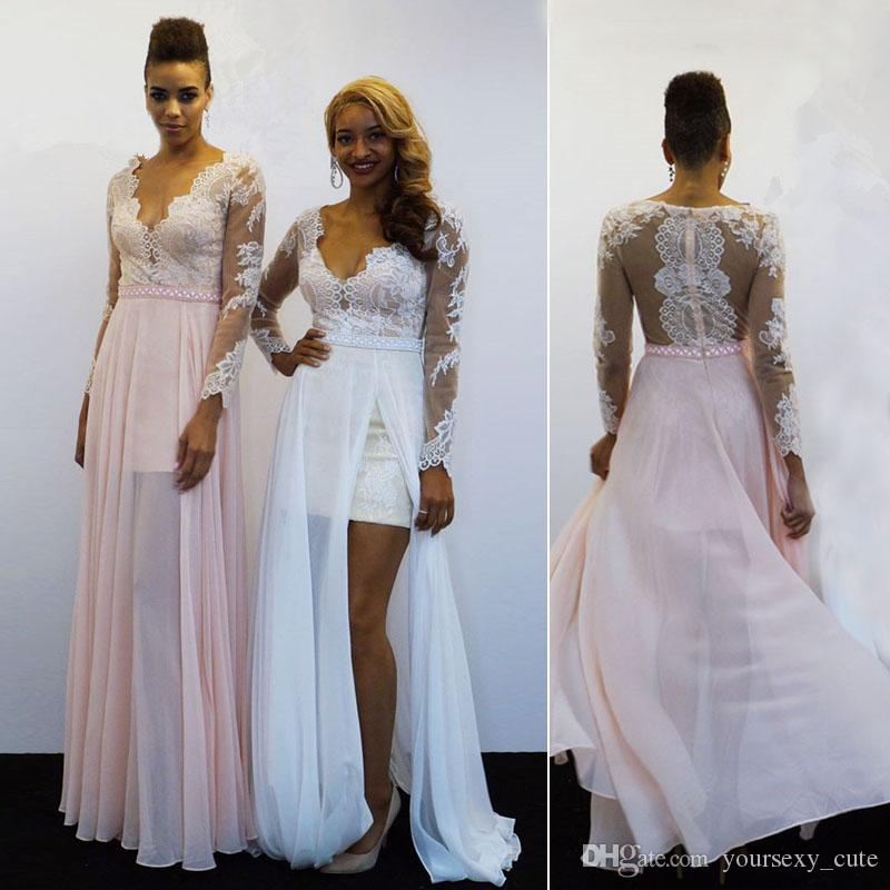 0f00477a11 White Pink Long Sleeves Prom Dresses Deep V Neck Lace Chiffon Illusion Back Prom  Dresses Over Skirt Crystal Split Sexy African Party Dresses Short Prom ...