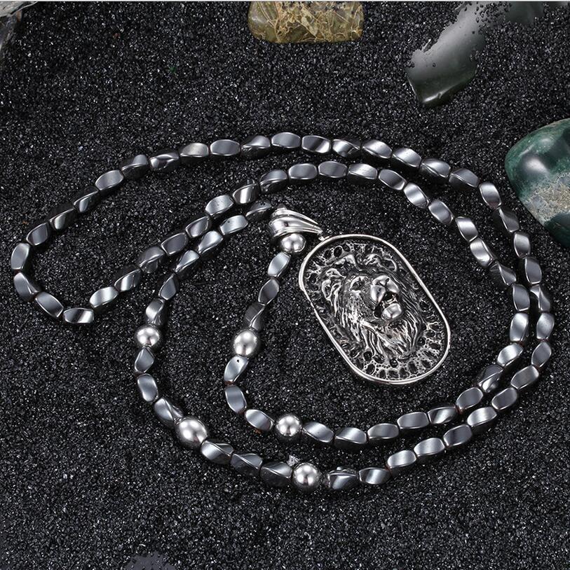 Punk Aço Inoxidável Colar de Pingente de Cabeça de Leão Para Os Homens de Pedra Cinza Ferro Cinza Beads 75 cm Longo Colar Acessório Do Vintage