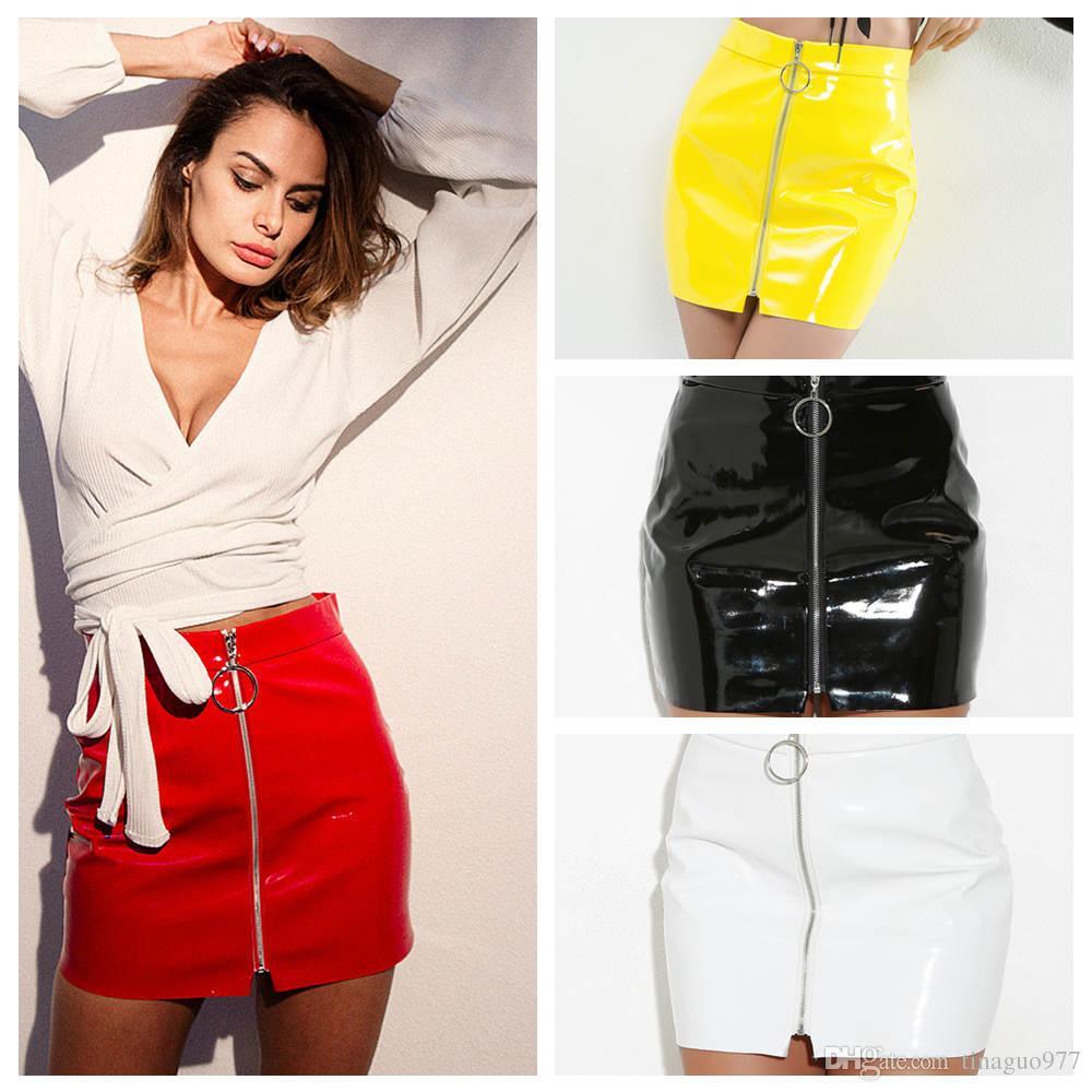 d18e64aaa1e7 Faldas para mujer Cuero de imitación brillante PU Cremallera Frente Bodycon  Lápiz Mini Faldas Blanco Negro Rojo Amarillo 2943