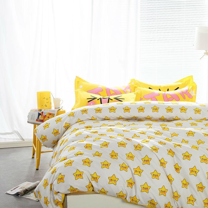 Cartoon Little Yellow Stars Combing 100 Cotton Linens Bedding Sets