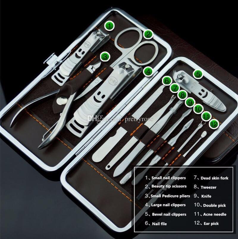 Set de manicura pedicura tijera cuchillo de pinzas oreja Pick utilitario Clipper Kit de uñas, acero inoxidable herramienta de cuidado de uñas conjunto Nuevo