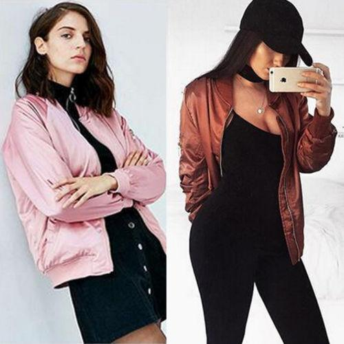 1240e91d579 Fashion Coats 2017 Autumn Winter Women Thin Jacket Bomber Long Sleeve Coat  Casual Stand Collar Outerwear Plus Size Casual Jackets Lightweight Jackets  From ...