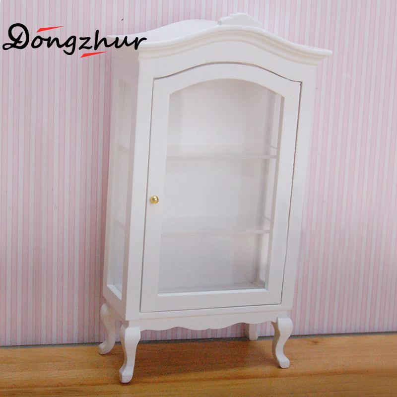 Miniature Dollhouse Furniture White Round Top Collection Cabinet Wooden Toy  House Doll Dollhouse Miniature Display Cabinets Toy Furniture For Dollhouse  ...