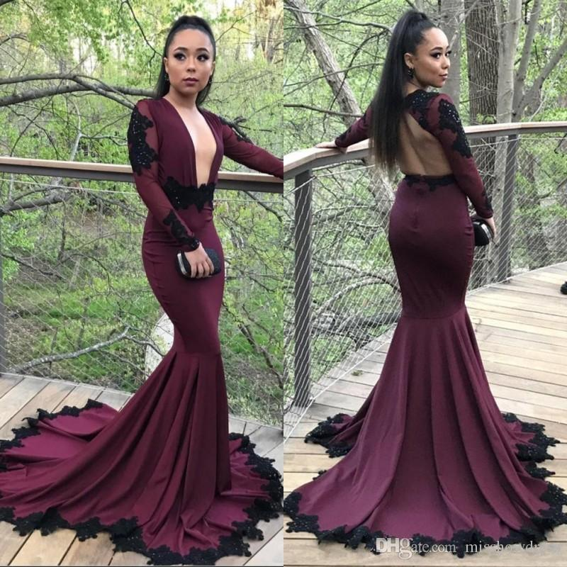 0db28fc1ff 2018 African Sexy Deep V Neck Burgundy Mermaid Prom Dresses Backless Long  Sleeves Appliques Evening Gowns Plus Size Vestidos De Festa BA7833 Short  Poofy ...