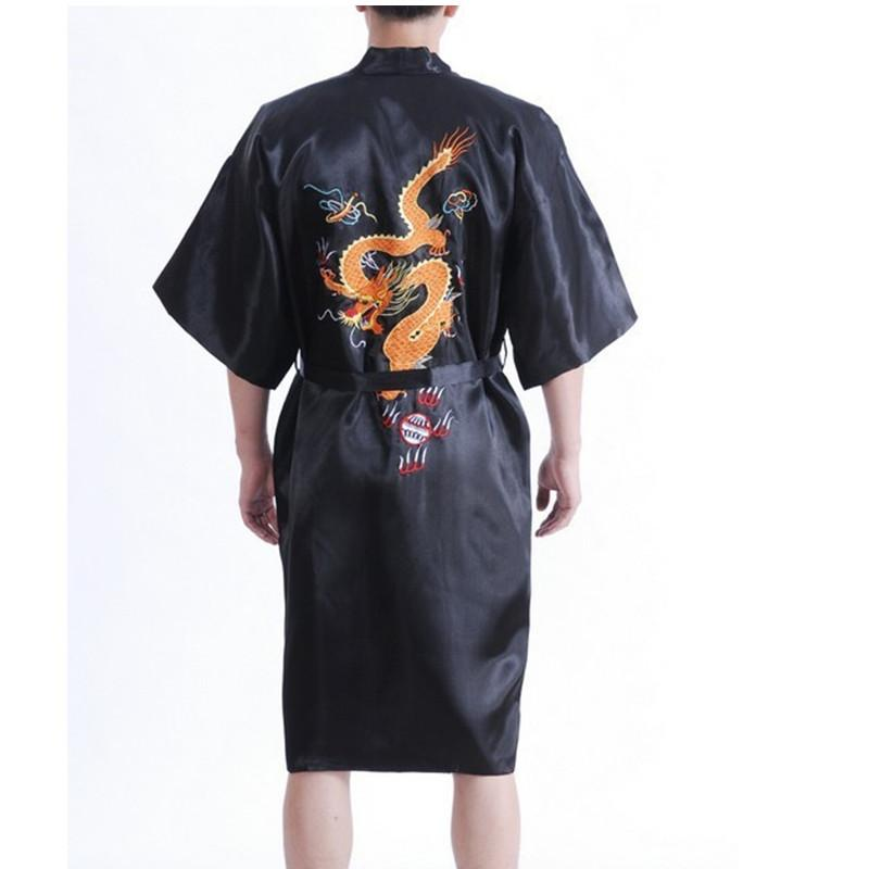 dfb981462 2019 Novelty Summer Black Chinese Men Silk Robe Sleepwear Traditional  Embroidery Kimono Yukata Gown S M L XL XXL XXXL From Gingerliu, $32.62 |  DHgate.Com