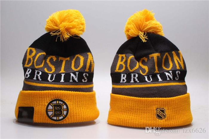 616a8876e98 2018 Yellow Black Color Boston Bruins Knitted Ice Hockey Pom Cuff Caps  Embroidered Team Logo Beanies Quality Winter Cap Skullies Beanie Hoodies  From Lzx6626 ...