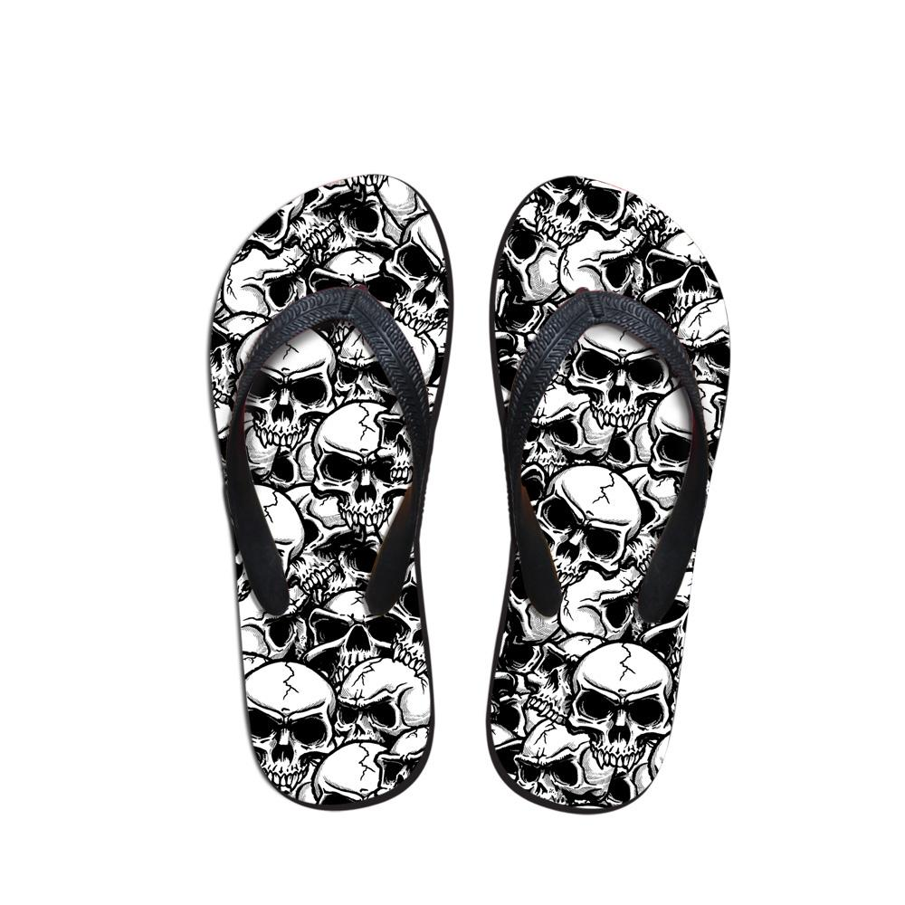 20a8cb21fbb Customized Cool Punk Skull Zombie Design Men's Flip Flops Fashion Summer  Beach Water Rubber Slippers Male Flats Sandals Shoes