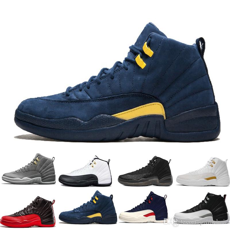 various colors d60b4 84f25 High Quality 12 12s Black White Gym Red Dark Grey Basketball Shoes Men  Women Taxi Blue Suede Flu Game CNY Sneakers size 36-47