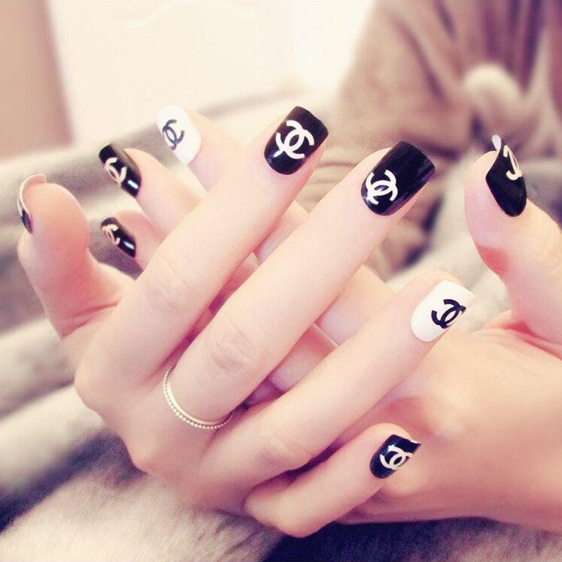 Fashion Design Fake Nail Shiny Black White False Nails Tips Diy Nail