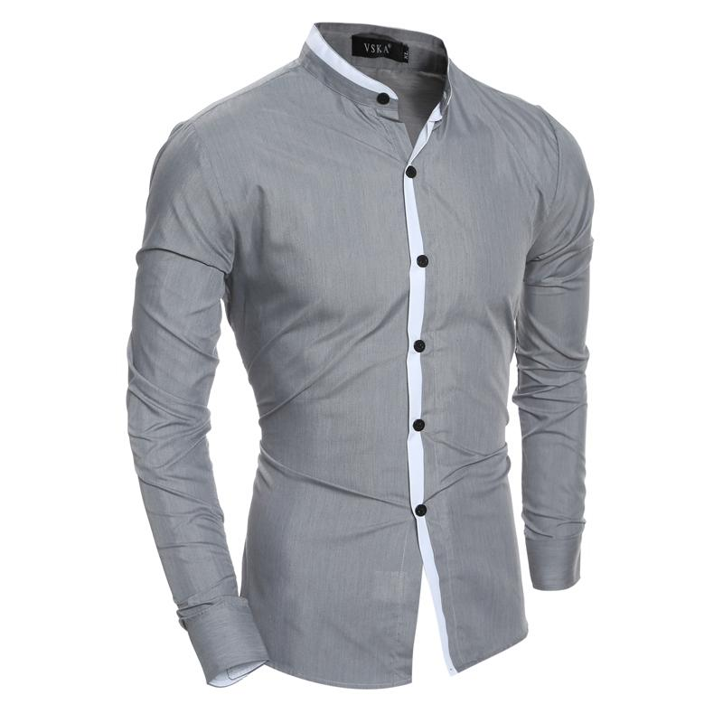 3ceed665906 2018 New Fashion Men Shirt Slim Casual Solid Color Long-Sleeve Male ...