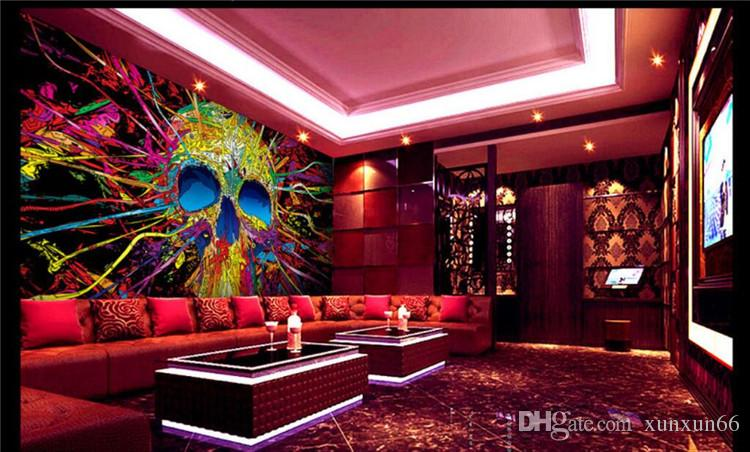Customize Size Modern Wall Paper Background Hip Hop Color Graffiti Skull Art Wall Covering Decor Living Room Mural Wallpaper