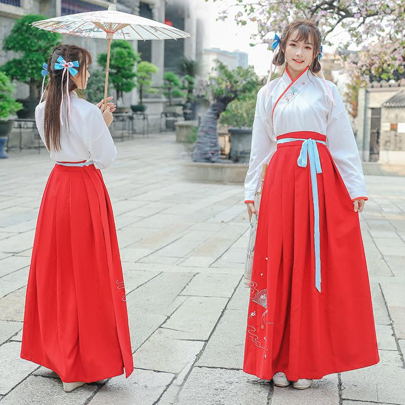 98a4a0861 Chinese Traditional Han Dynasty Princess Clothing Women Tops+ Skirt Ancient  Hanfu Cosplay Costume Lady National Folk Dance Dress