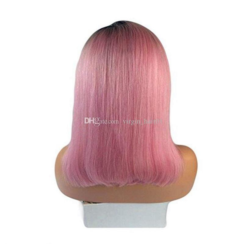 Dark black root pink Straight lace front wig straight hair short bob lace wig africa american cosplay wigs for woman 100% human hair