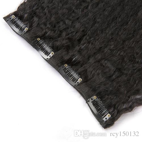 And 120g Coarse YakiClip In Human Hair Extensions Brazilian Machine Made Remy Hair 100% Human Hair Natural Black Kinky straight