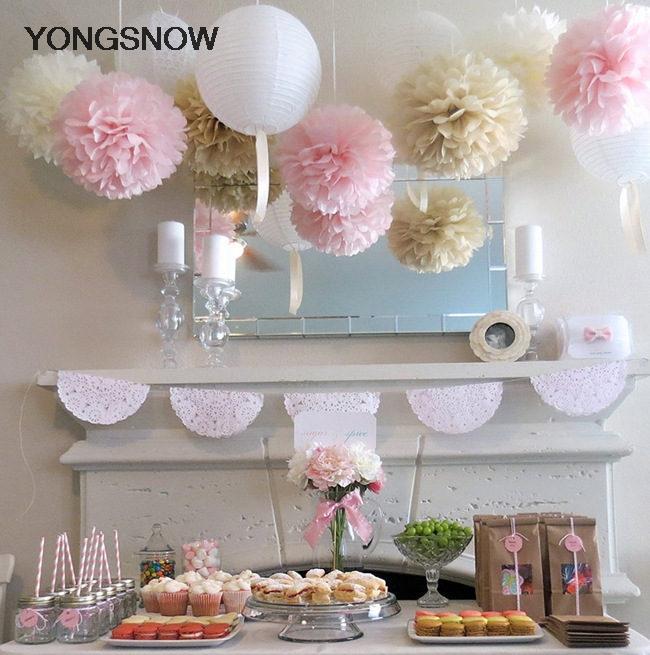 5p 20cm Decorative Hanging Flower Tissue Paper Pom Pom Rose Ball Garland Baby Shower Wedding Party Decoration Craft DIY Supplies