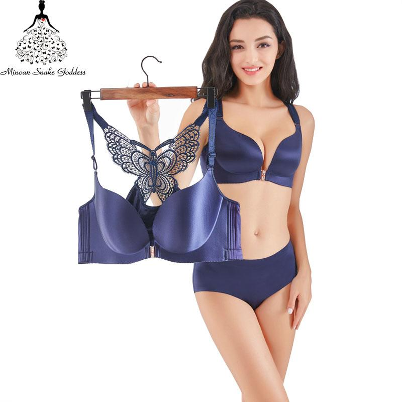 e9c838668e2 2019 Push Up Lingerie Bra Set Underwear Bra Set Seamless And Panties Front  Closure Female Intimates Plus Size BCDE Brassiere From Honey111