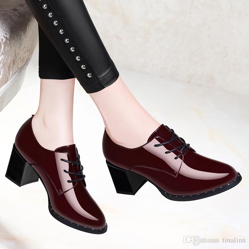 Compre Nuevo 2018 Zapatos De Vestir Para Mujer Mujeres Con Zapatos De Tacón Grueso Primavera Cómodas Chicas Moda Borgoña Negro Size34 40 Alta Calidad A 38 6 Del Tinalinn Es Dhgate Com