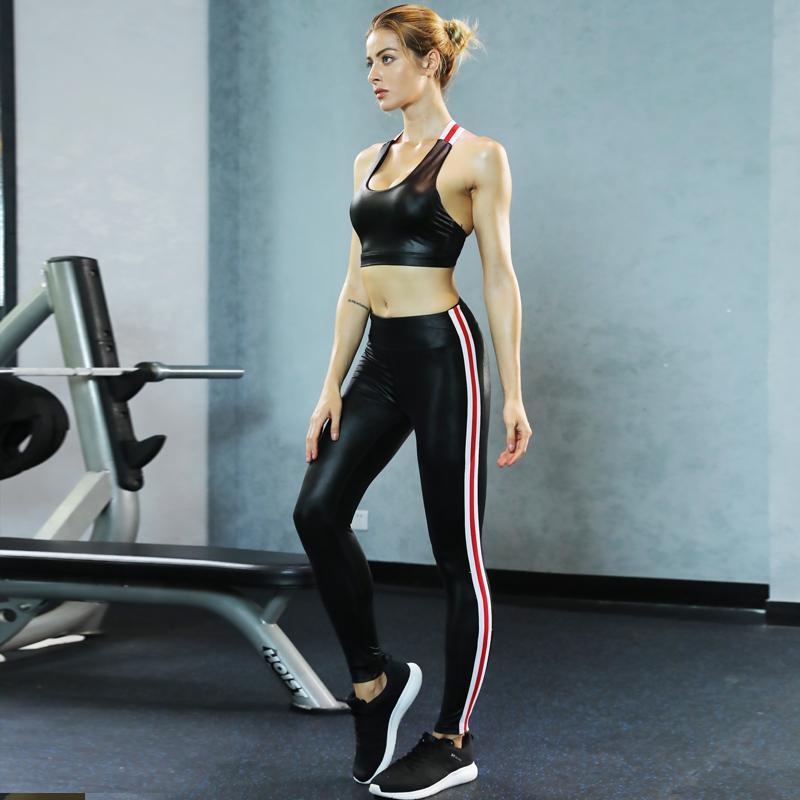 f940c5dc2a 2019 Women S Faux Leather Yoga Set Fitness Wear Black Crop Tank Top And  Shiny Legging Pants