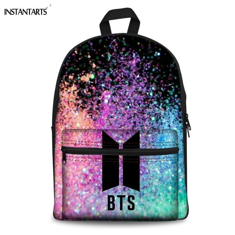 2818c75584e7 INSTANTARTS Hot Kpop BTS Print Boys Girls Canvas Backpacks Middle School  Students Rucksacks Casual Lap Top Daypacks For Teenager Backpack With  Wheels Dakine ...