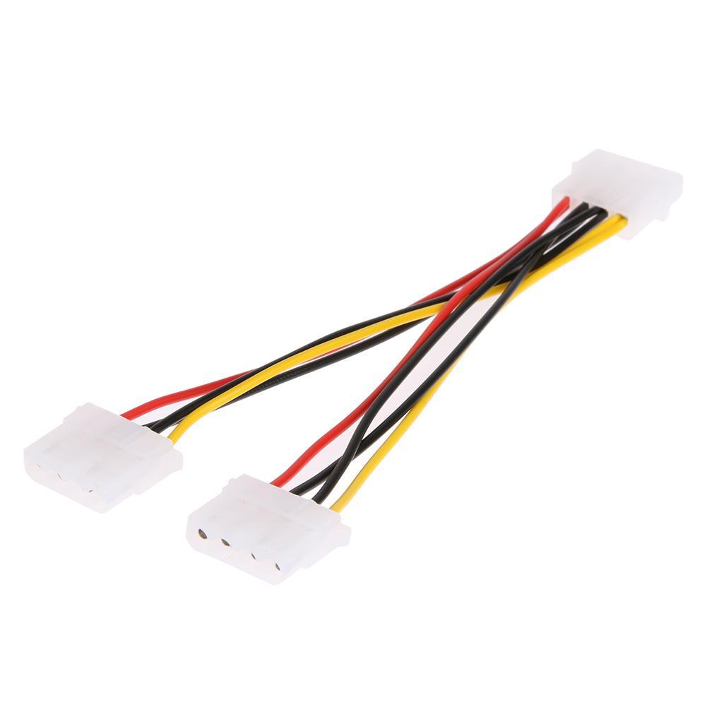4 Pin Molex Erkek 2 limanlar için Molex IDE Kadın Güç Kaynağı Y Splitter Adaptör Kablosu PC, soğutma fanı, CD Sürücü Sabit Disk
