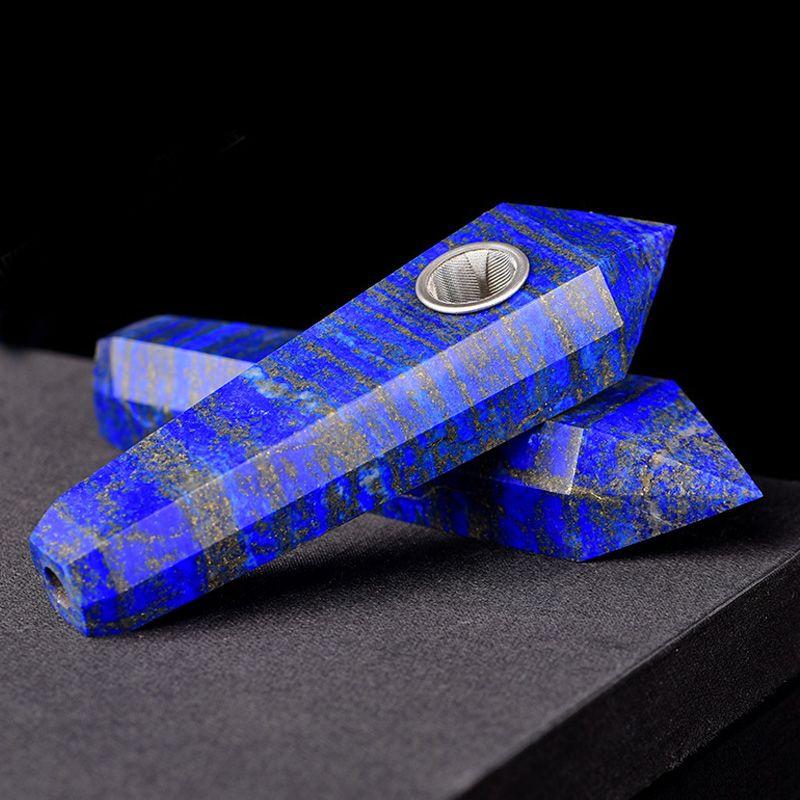 Chunky Royal Natural Lapis Lazuli Gem Stone Quartz Crystal Wand+ Metal Strainer Smoking Pipe Carved Blue Point Obelisk Gemstone Tobacco Pipe