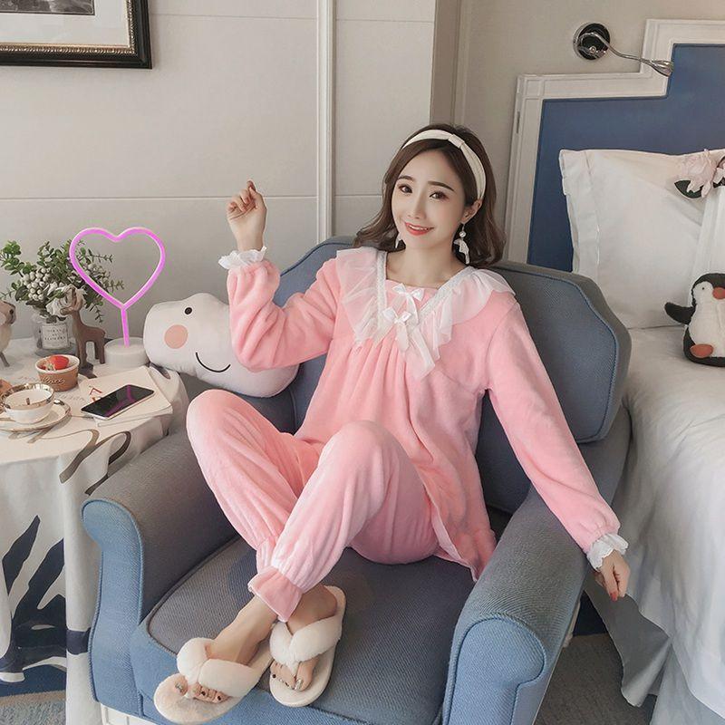 Compre JINUO Nuevo Diseño Casual Viento Mujeres Conjuntos De Pijama De  Franela De Invierno Señoras Dulce De Color Sólido Encantador Suave Inicio  Ropa De ... 85d9f47e5528