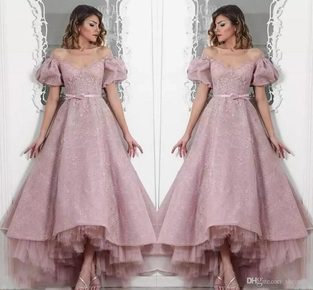 a078c814a99a2 2018 Dusty Pink Off The Shoulder High Low Prom Dresses Lace Appliqued Short  Sleeves Beaded Evening Prom Party Cocktail Dresses Gowns Long Dress Short  Prom ...