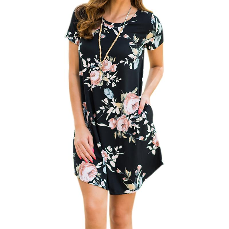 Floral Print Mini Dress 2018 New Short Sleeve Casual Women Summer Dresses O  Neck Party Dress Robe Mjuer Sundress Sexy GV744 Party Gown Dress Floral  Dress ... fd3028a75cf5