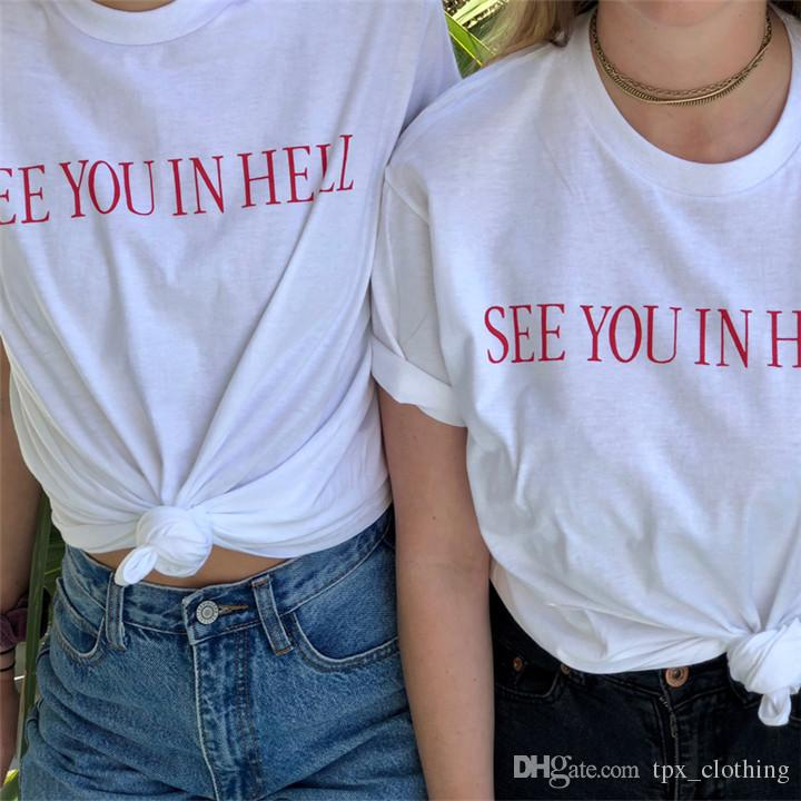 Hell t shirt See you in cool words short sleeve gown Street leisure tees  Unisex clothing Pure color cotton Tshirt