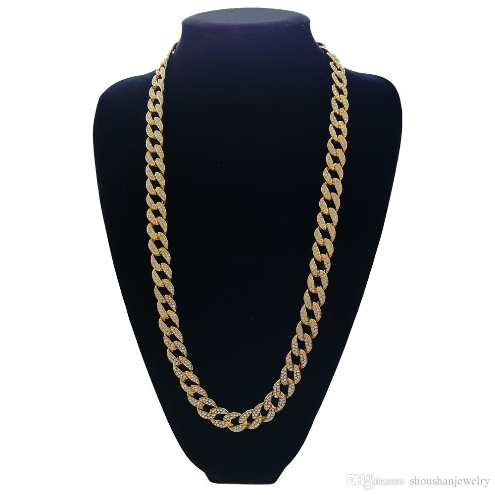 16inch 18inch 20inch 24inch 30inch Hip Hop Iced out Cuban Chain Cuban Link Chain Necklace Bling bling Jewelry N409